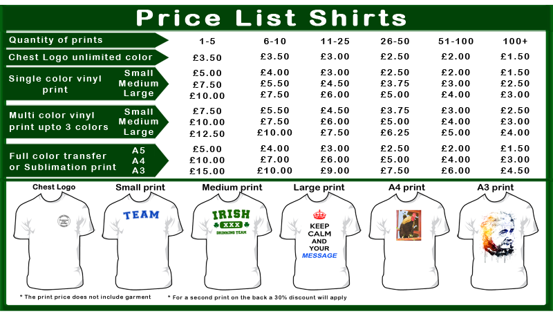 Prices zama print custom embroidery and printing for T shirt printing price list