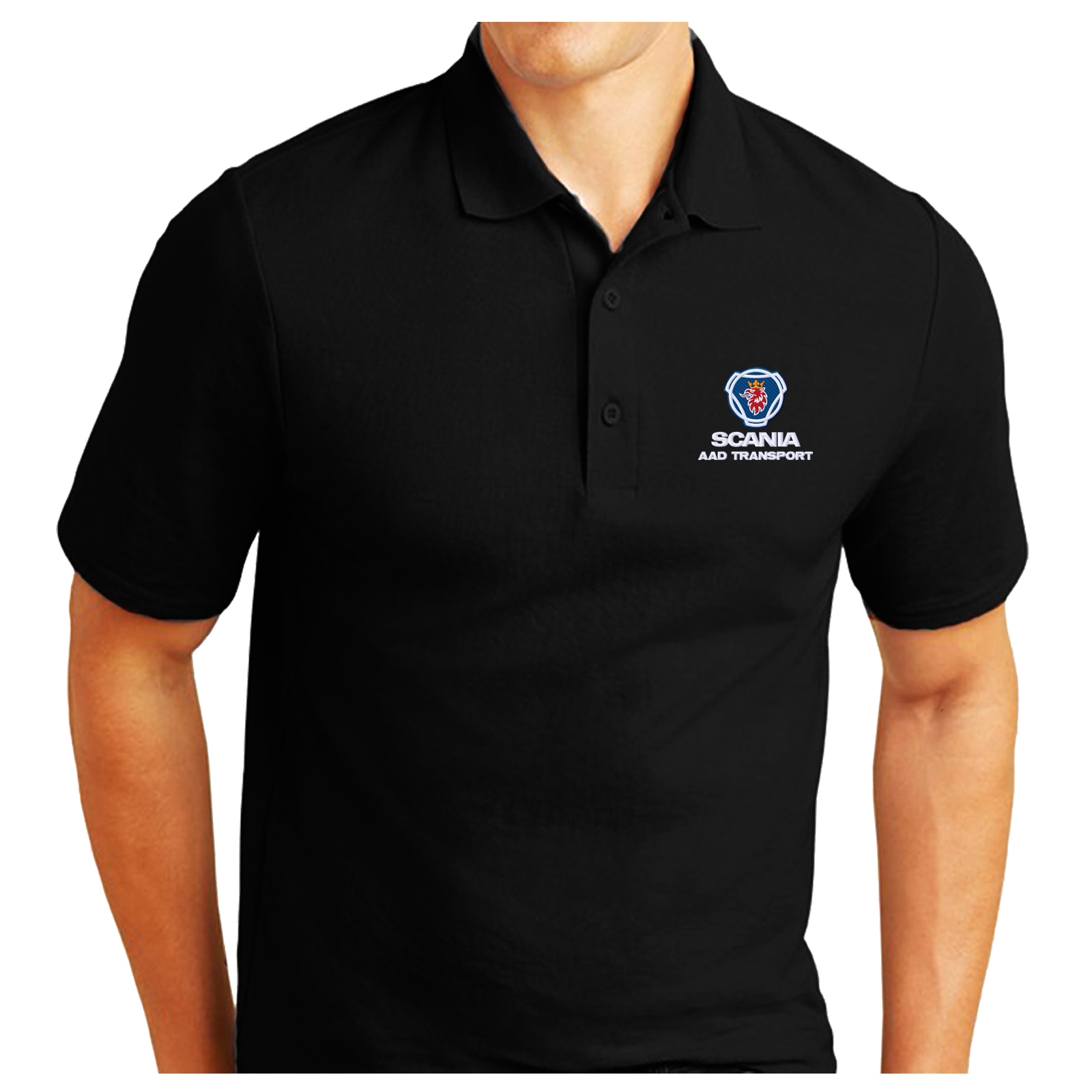 79fd619c1 SCANIA Logo Embroidered and Personalised Pique Polo Shirt Work ...
